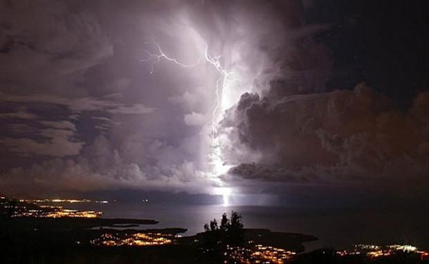 A bolt of lightning lights up the night's sky near the mouth of the Catatumbo River in Zulia, Venezuela