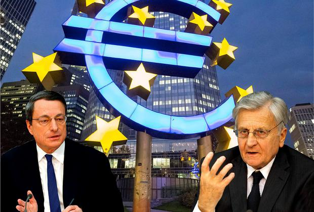 REWRITING HISTORY: As long as the ECB is looked after and small EU states hung out to dry, Mario Draghi (left) and his predecessor Jean-Claude Trichet are happy