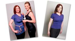 A 76kg Yvonne getting measured up by Siobhan Byrne (left) before embarking on the programme, and at 65kg, after the 100FITdays (right). PHOTOS: EL KEEGAN