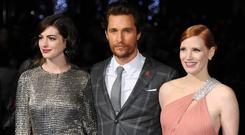Anne Hathaway; Matthew McConaughey and Jessica Chastain attend the European premiere of