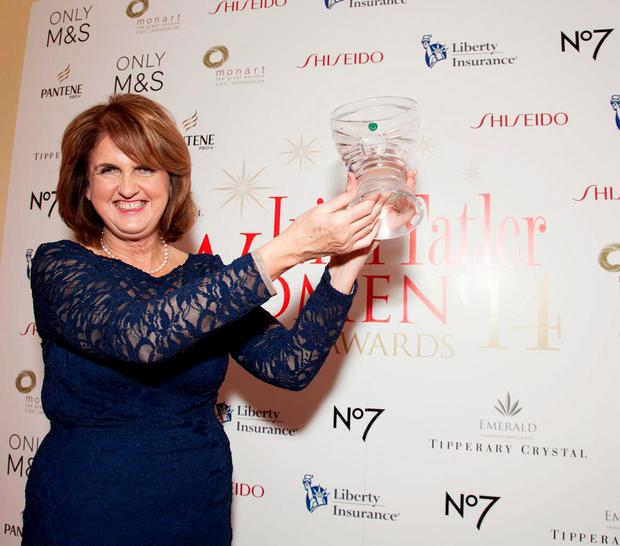 Tanaiste Joan Burton, leader of the Labour Party was awarded the overall Irish Tatler Woman of the Year Award. Pic: Paul Sherwood