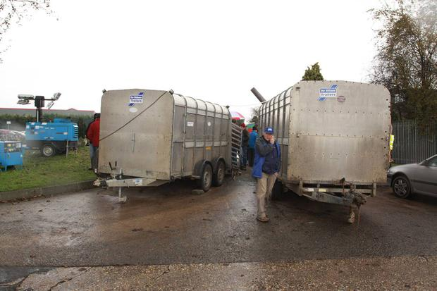 Farmers protesting outside Slaney Meats in Bunclody