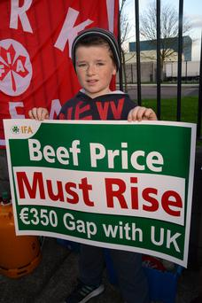At a 48-hour protest at the ABP Plant at Bandon Co Cork demanding better beef prices was Garry Lordan, aged 9, from Ballineen. Photo: Denis Boyle