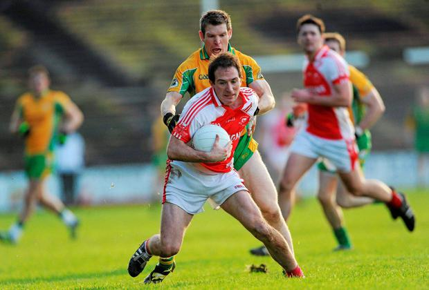 Alan Dillon in action for Ballintubber against Corofin's Kieran McGrath in 2011 - the sides meet again on Sunday week. Picture credit: Brian Lawless / SPORTSFILE