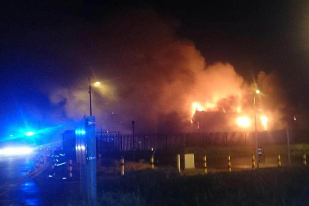 The fire at the business premises last night