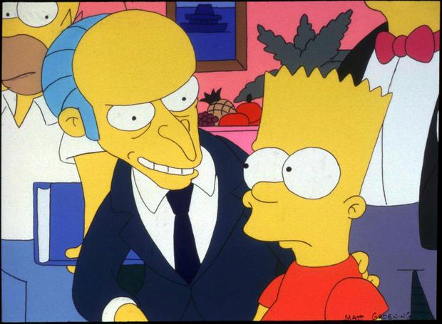 Mr Burns and Bart Simpson, two of the characters Sam Simon helped create.