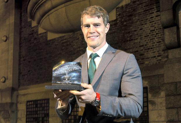 Andrew Trimble with his Guinness Rugby Writers of Ireland Player of the Year award. INPHO/Billy Stickland