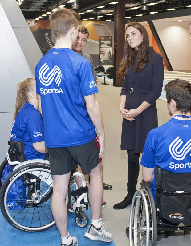 LONDON, ENGLAND - NOVEMBER 12: Catherine, Duchess of Cambridge, Patron of SportsAid meets potential young athletes at a SportsAid workshop at the GSK Human Performance Laboratory on November 12, 2014 in West London, England.