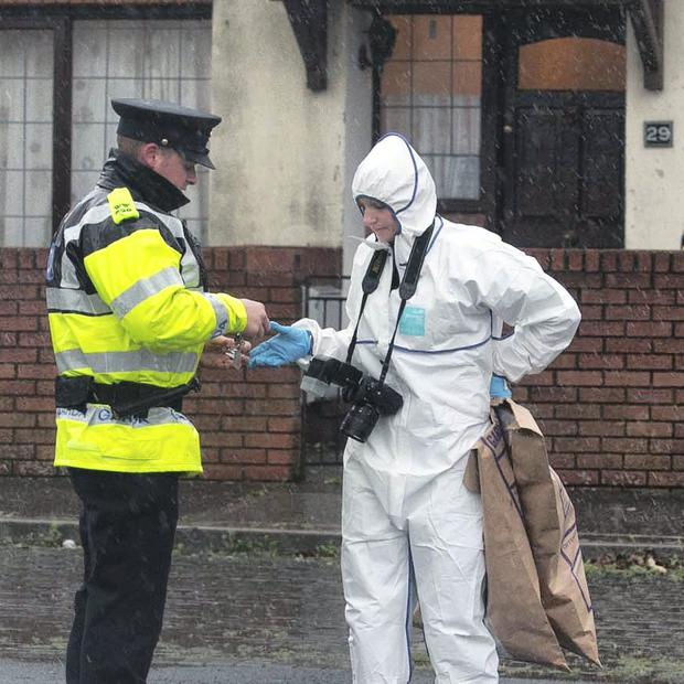 Members of the Gardai at the scene of a shooting in Heatherwood Estate, Bray, Co Wicklow. Photo: Gareth Chaney Collins