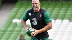 Ireland captain Paul O'Connell in action during the captain's run ahead of their Autumn International match against South Africa
