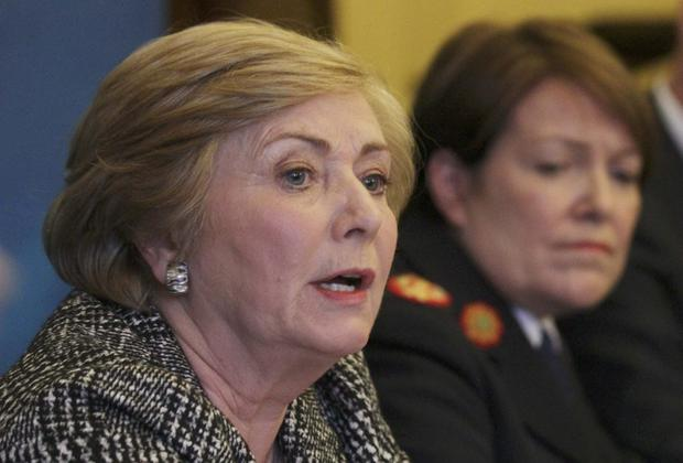 Minister for Justice Frances Fitzgerald, flanked by Acting Garda Commissioner Noirin O'Sullivan, addresses the media. Stephen Collins/Collins Photos