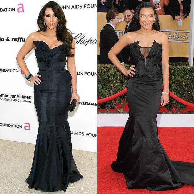 Pre-Kanye, Kim's favourite looks revolved around pushing her cleavage into as small a space as possible (left) - so does Naya (right)