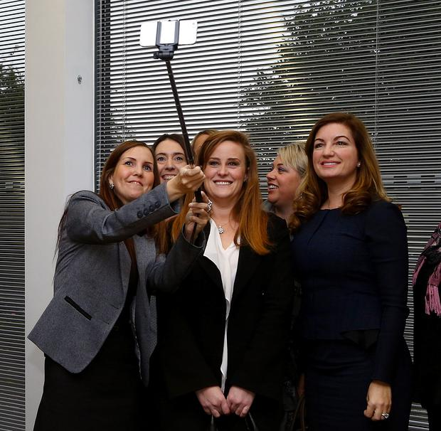 Kelly Tolhurst, Conservative Candidate for Rochester and Strood (middle) and Karren Brady (right), Small Business Ambassador to the UK Government, pose for a selfie with local business women following a Start-Up Business Roundtable at Innovation Centre Medway near Rochester, Kent. Photo: Gareth Fuller/PA Wire