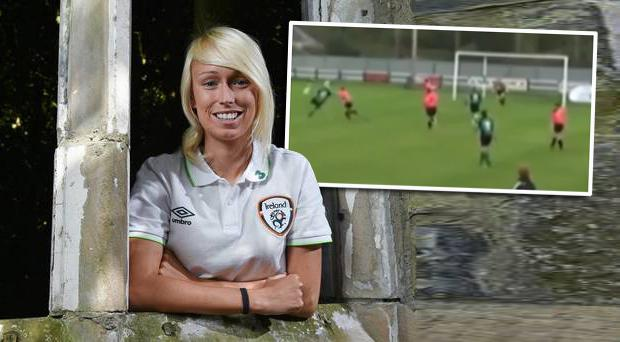 Peamount United player Stephanie Roche. Inset: Stephanie's entry in the 2014 Puskas Goal of the Year