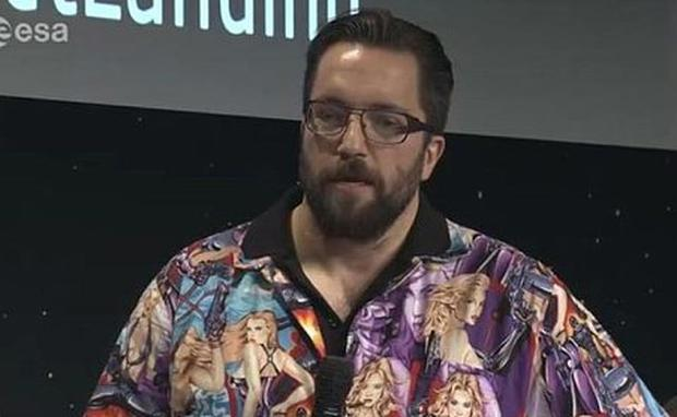 Colourful: Dr Matt Taylor, Rosetta Project scientist, provoked a stir with the shirt he wore on TV. European Space Agency/PA Wire