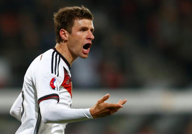 Germany's Thomas Mueller celebrates after scoring a second goal against Gibraltar during their Euro 2016 Group D qualifying soccer match in Nueremberg
