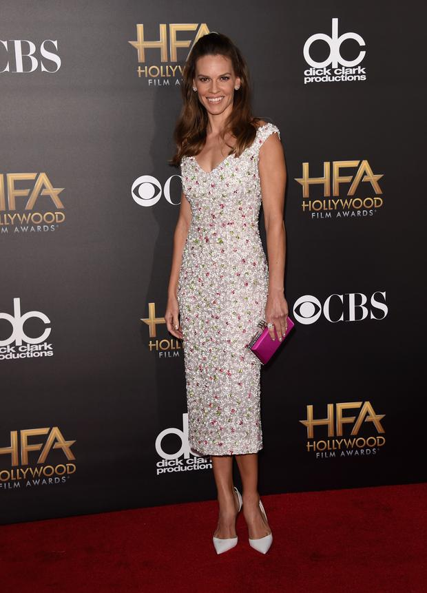 HOLLYWOOD, CA - NOVEMBER 14: Actress Hilary Swank attends the 18th Annual Hollywood Film Awards at The Palladium on November 14, 2014 in Hollywood, California. (Photo by Jason Merritt/Getty Images)