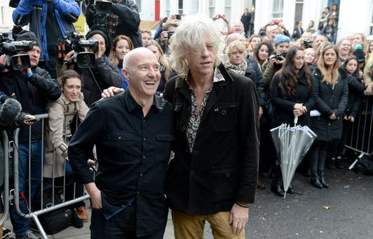 Midge Ure (left) and Bob Geldof arrive for the recording of the Band Aid 30 single at Sarm Studios in Notting Hill, London (Anthony Devlin/PA Wire)