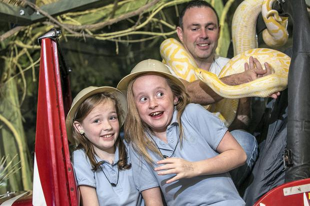 Pictured are James Hennessy, Director and creator of the Reptile Village with nine year olds, Katelyn Hennessy (9) and Aisling Dwanas well as Rascal the Burmese python.