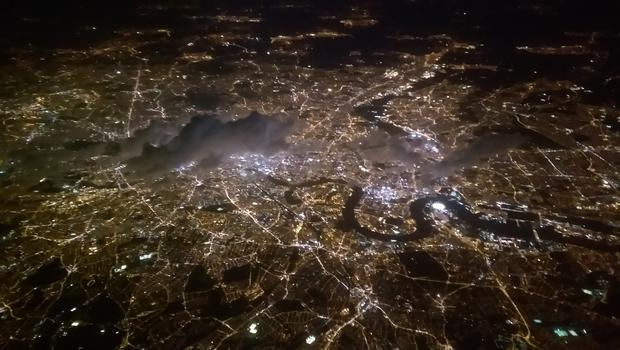 The London Sky Line at night viewed from Call Sign 'Irish 253' as it departs after air ambulance mission. Photo: Air Corps