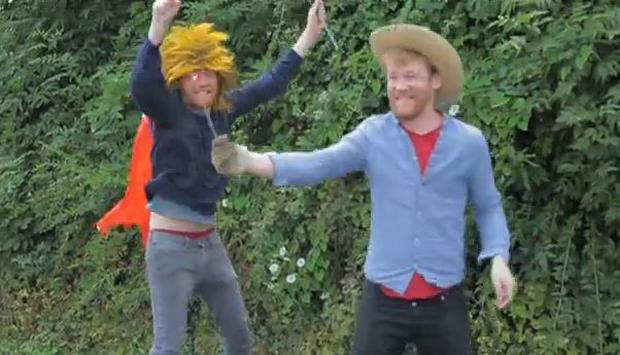 Domhnall and Brian Gleeson in the video for Squarehead's '2025'