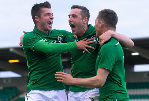 Dylan Connolly (centre) scored the second goal for Ireland U-21s against Russia in the Marbella International tournament. Photo: Pat Murphy / SPORTSFILE