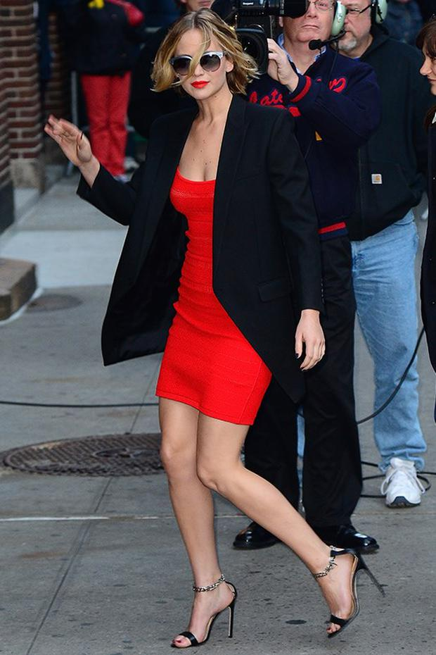 She wore a bodycon Antonio Berardi dress before her David Letterman appearance