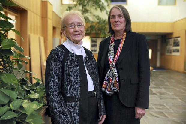 udge Catherine McGuinness with Chief Justice Susan Denham at the launch of the Catherine McGuinness Fellowship on Children's Rights and Child Law, in the Law Library in the Distillery Building, Dublin. Picture:Arthur Carron