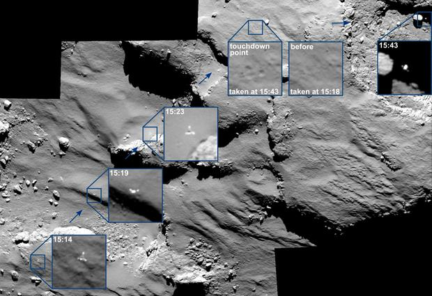 A mosaic of a series of images captured by Rosetta's Osiris camera over a 30 minute period shows the European Space Agency's lander Philae descending towards the Comet. A comparison of the touchdown area shortly before and after first contact with the surface is also seen at the top right (REUTERS)