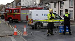 Emergency services at the site of the accident at Manor Street where a two-year-old child was killed. Photo: Mary Browne