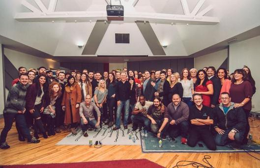Sile Seoige tweeted photo from Windmill Lane recording studios of celebs who took part in recording 'Maybe this Christmas'