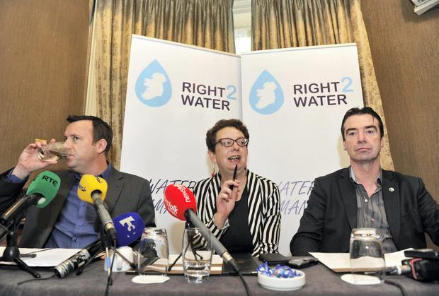 Brendan Ogle (L)and John Douglas (R, UNITE) at the Right2Water press conference calling for a mass mobilisation of citizens to protest against water charges in Dublin on December 10th. Clodagh Kilcoyne