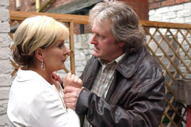 Actor Charlie Lawson in a scene from Coronation Street in character as Jim McDonald with on screen wife Liz (played by Beverly Callard)