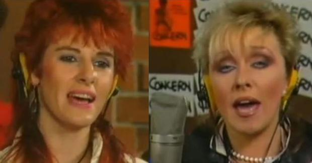 Linda Martin and Twink singing charity single 1985