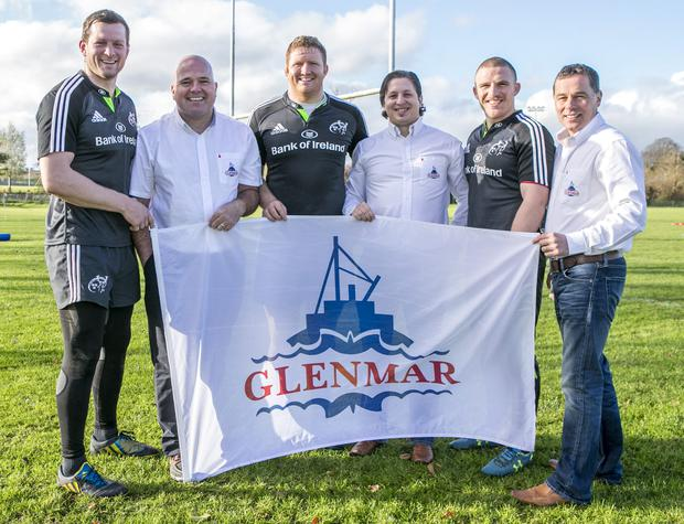 Glenmar Shellfish's Anthony Walsh with Juan Blanes and Diarmuid O'Donovan pictured with Munster Players Stephen Archer ,Andrew Conway and Denis Hurley pictured at their Training Grounds in CIT Cork where Their Company was Shortlisted in the Munster Section of the Bank Of Ireland supported Sponsor for a Day Competition.
