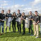 Conor Mulhall,John Liston,Viki Mulhall,Tersa Phelan with John and Dara O'Farrell (all The Little Milk Co) with Munster Players Stephen Archer Andrew Conway and Denis Hurley pictured at their Training Grounds in CIT Cork where Their Company The Little Milk Co was Shortlisted in the Munster Section of the Bank Of Ireland supported Sponsor for a Day Competition.