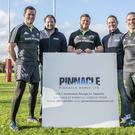 Pinnacle Homes Ltd's Tim O'Brien and Paul Henry pictured with Munster Players Stephen Archer ,Andrew Conway and Denis Hurley pictured at their Training Grounds in CIT Cork where Their Company was Shortlisted in the Munster Section of the Bank Of Ireland supported Sponsor for a Day Competition.