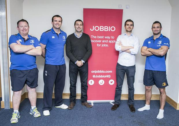 JOBBIO's Stephen and Mark Quinn with Leinster Players Shane Jennings and David Kearney and Manager Matt O'Connor , one of the Five Companies Shortlisted in the Leinster Section of the Bank Of Ireland supported Sponsor for a Day Competition.