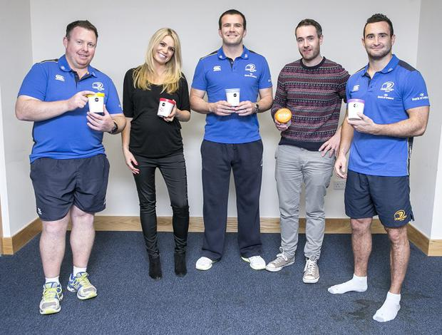 NOBO's Rachel and Brian Nolan with Leinster Players Shane Jennings and David Kearney and Manager Matt O'Connor , one of the Five Companies Shortlisted in the Leinster Section of the Bank Of Ireland supported Sponsor for a Day Competition.