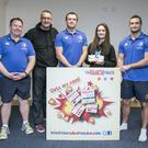 The Radical Oats Co 's Tony and Tabitha Monahan with Leinster Players Shane Jennings and David Kearney and Manager Matt O'Connor , one of the Five Companies Shortlisted in the Leinster Section of the Bank Of Ireland supported Sponsor for a Day Competition.