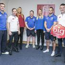 The Big Red Cloud's Marc O'Dwyer,Hannah Behan,Stephanie Stowe,and Michael O'Brien with Leinster Players Shane Jennings and David Kearney and Manager Matt O'Connor , one of the Five Companies Shortlisted in the Leinster Section of the Bank Of Ireland supported Sponsor for a Day Competition.