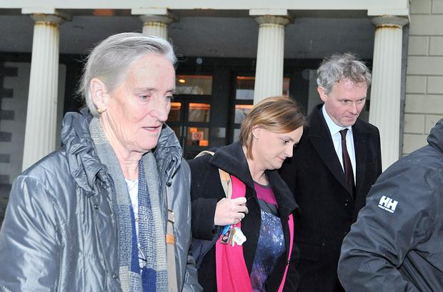 Kathleen Chada alongside her mother Patsy Murphy and solicitor leaving the Inquest hearing into the deaths of her sons Eoghan and Ruairi Chada at the Coroner's court in Castlebar, Co Mayo. Picture: Conor McKeown