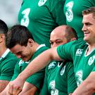 Ireland team-mates (from right) Jamie Heaslip, Rory Best, Jonathan Sexton and Rob Kearney see the funny side of things at the Aviva Stadium yesterday. Matt Browne / SPORTSFILE