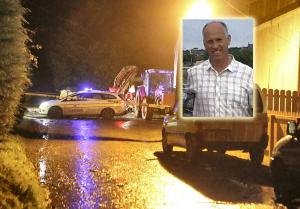 The scene of the farm accident where Kevin Wood and Seamus Hegarty (inset) lost their lives. Photo: North West Newspix