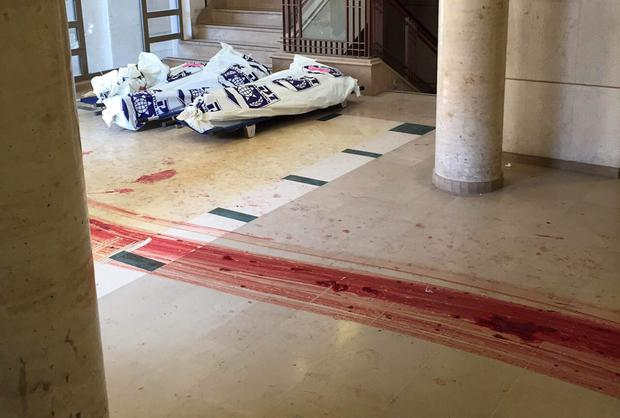 Attack: Blood trails on the floor near covered bodies at the scene of an attack at a Jerusalem synagogue last Tuesday. REUTERS/Zaka/Handout via Reuters