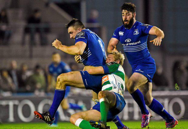 Leinster's Jack Conan is is tackled by Joe Carlisle of Treviso.