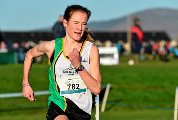 Fionnuala Britton, Kilcoole AC, Co. Wicklow, on her way to winning the Senior Women's 8000m race at the GloHealth Inter County & Juvenile Even Age Cross Country Championships. Picture credit: Ramsey Cardy / SPORTSFILE