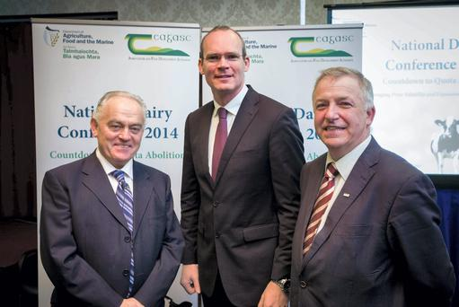Tom Moran, Department secretary general, with Minister for Agriculture, Simon Coveney, and Gerry Boyle, director of Teagasc, at the National Dairy Conference 2014. Pic. John T Ohle Photography.