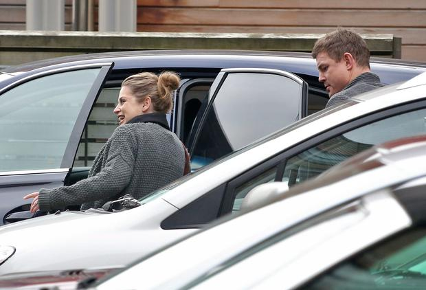 25/11/14 Amy Huberman pictured leaving Holles Street Maternity Hospital this morning with her husband, Brian O'Driscoll and theirnew son, Billy who was born there last week... Picture Colin Keegan, Collins Dublin.