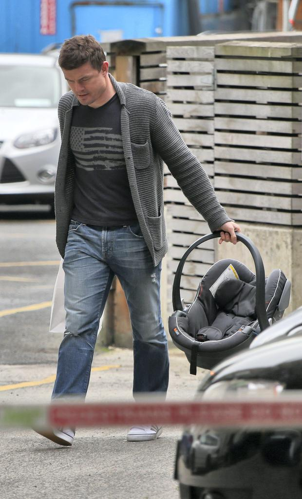 25/11/14 Brian O'Driscoll arrives at Holles Street Maternity Hospital this morning to pick up his wife Amy Huberman and their son, Billy who was born there last week... Picture Colin Keegan, Collins Dublin.